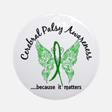 Cerebral Palsy Butterfly 6.1 Ornament (Round)