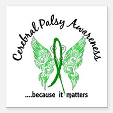 "Cerebral Palsy Butterfly Square Car Magnet 3"" x 3"""