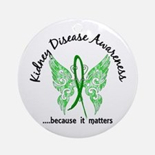 Kidney Disease Butterfly 6.1 Ornament (Round)
