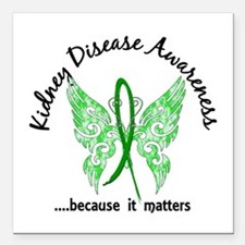 """Kidney Disease Butterfly Square Car Magnet 3"""" x 3"""""""
