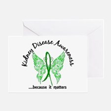 Kidney Disease Butterfly 6.1 Greeting Card