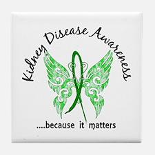 Kidney Disease Butterfly 6.1 Tile Coaster