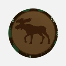 """Rustic Moose and Pine Tree 3.5"""" Button"""