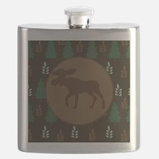 Rustic Moose and Pine Tree Flask