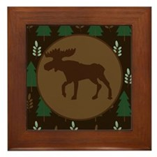 Rustic Moose and Pine Tree Framed Tile