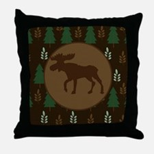 Rustic Moose and Pine Tree Throw Pillow