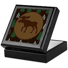 Rustic Moose and Pine Tree Keepsake Box