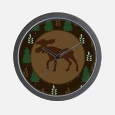 Rustic Moose and Pine Tree Wall Clock