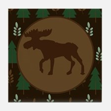 Rustic Moose and Pine Tree Tile Coaster