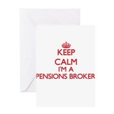 Keep calm I'm a Pensions Broker Greeting Cards