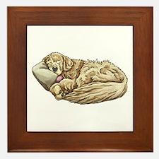 Sleeping Golden Retriever Framed Tile