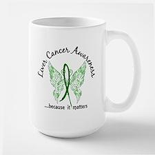 Liver Cancer Butterfly 6.1 Large Mug
