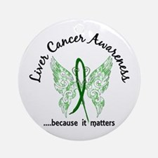 Liver Cancer Butterfly 6.1 Ornament (Round)