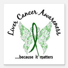 "Liver Cancer Butterfly 6 Square Car Magnet 3"" x 3"""