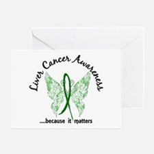 Liver Cancer Butterfly 6.1 Greeting Card