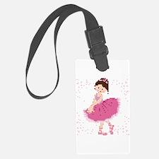 Pink Pixel Ballerina Luggage Tag