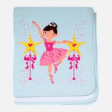 Pixel Ballerina with Star Wands baby blanket