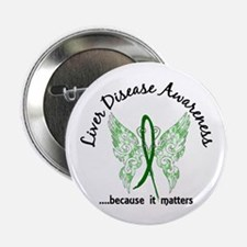 "Liver Disease Butterfly 6.1 2.25"" Button"
