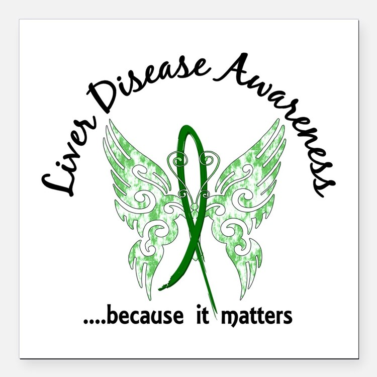 "Liver Disease Butterfly Square Car Magnet 3"" x 3"""