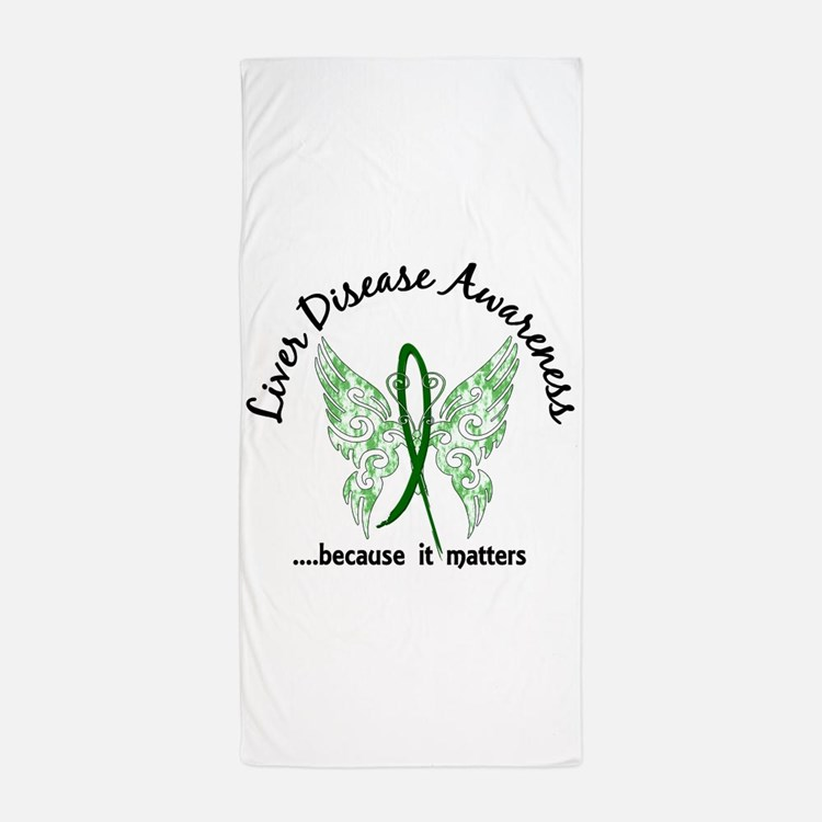 Liver Disease Butterfly 6.1 Beach Towel