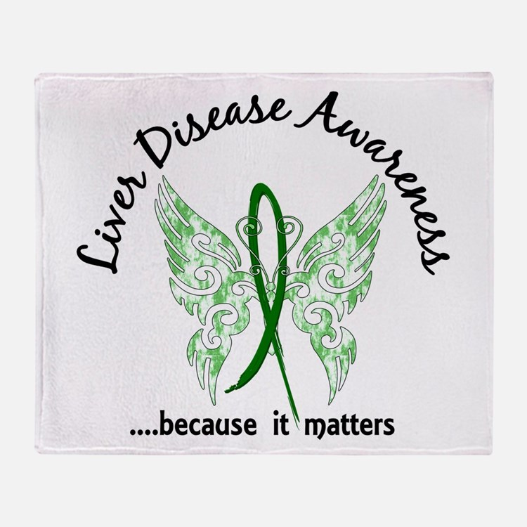 Liver Disease Butterfly 6.1 Throw Blanket