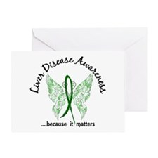 Liver Disease Butterfly 6.1 Greeting Card