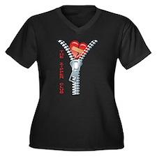 The Zipper C Women's Plus Size V-Neck Dark T-Shirt