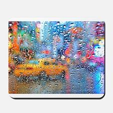 Times Sq. Taxi: Rain Storm Mousepad