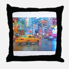Times Sq. Taxi: Rain Storm Throw Pillow