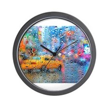 Times Sq. Taxi: Rain Storm Wall Clock