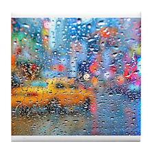 Times Sq. Taxi: Rain Storm Tile Coaster