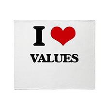 I love Values Throw Blanket