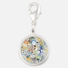 Under the microscope Silver Round Charm