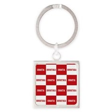 Croatia - Hrvatska Checkered Square Keychain