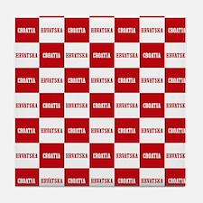Croatia - Hrvatska Checkered Tile Coaster
