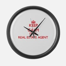 Keep calm I'm a Real Estate Agent Large Wall Clock
