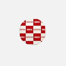 Croatia - Hrvatska Checkered Mini Button
