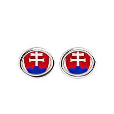 Slovakia Ice Hockey Emblem - Slovak Oval Cufflinks