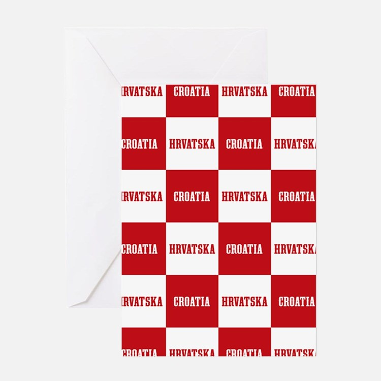 Croatia - Hrvatska Checkered Greeting Cards