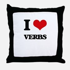 I love Verbs Throw Pillow