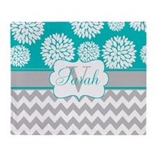 Gray Teal Chevron Blooms Personalized Throw Blanke