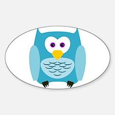 Cute Cartoon Aqua Blue Owl Decal