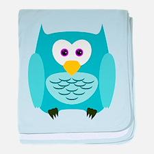 Cute Cartoon Aqua Blue Owl baby blanket