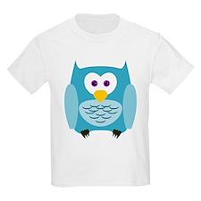 Cute Cartoon Aqua Blue Owl T-Shirt