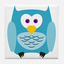 Cute Cartoon Aqua Blue Owl Tile Coaster