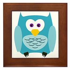 Cute Cartoon Aqua Blue Owl Framed Tile