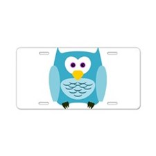 Cute Cartoon Aqua Blue Owl Aluminum License Plate