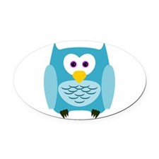 Cute Cartoon Aqua Blue Owl Oval Car Magnet