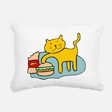 Cat And Hamburger Rectangular Canvas Pillow