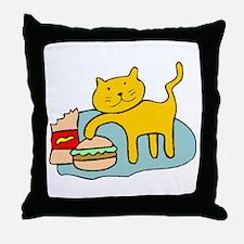 Cat And Hamburger Throw Pillow